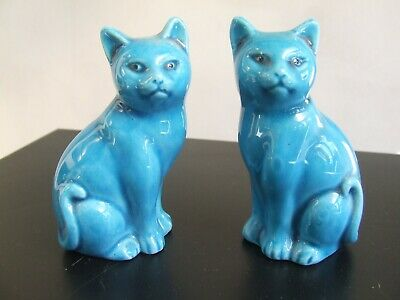 £10 • Buy Pair Of Antique Chinese Porcelain Rebublic Period Cat In Turquoise Glaze