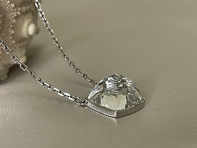 £36.19 • Buy Genuine Swarovski Signed Swan Clear Solitaire Pyramid Crystal Silver Necklace