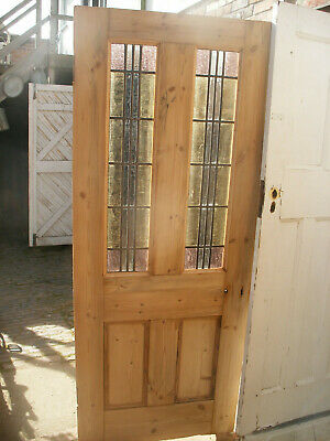 £525 • Buy Large Reclaimed Victorian Stripped Pine, Stained Glass Interior Door