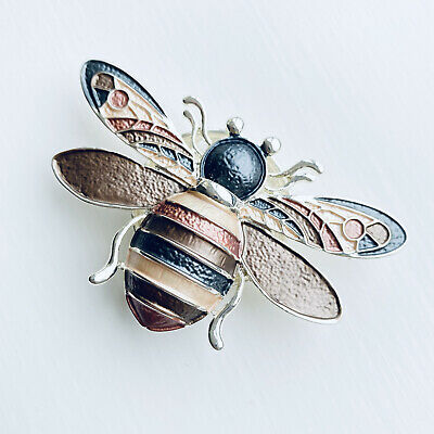 £7.50 • Buy Bee Brooch Magnetic Scarf Clip Pin Vintage Browns Bumble Bee And Gift Pouch
