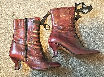 £16 • Buy Clarks Burgundy Victorian Style Leather Ankle Boots 6