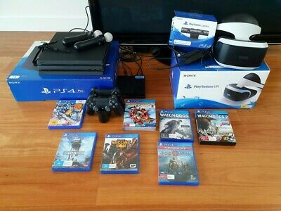 AU362 • Buy Sony PlayStation 4 PS4 Pro + VR Headset, Move Controllers, Camera + 7 Games