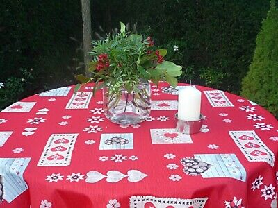 £16.31 • Buy Tablecloth Provence 160 CM Round Hearts Red Christmas From France Non-Iron