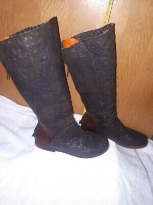 £35 • Buy Papucei Ladies Boots Crocodile Leather Brown High Knee In Excellent Condition...