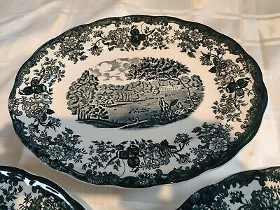 £10 • Buy 3 X Green Royal Worcester Avon Scenes Palissy Oval Platters Plates 300mm X 235mm
