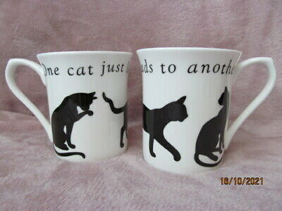 £5 • Buy Pair PAST TIMES Cat Coffee Tea Mugs - One Cat Just Leads To Another - Bone China