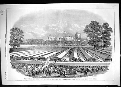 £27 • Buy Antique Old Print Royal Agricultural Society Meeting Windsor Home Park 1851