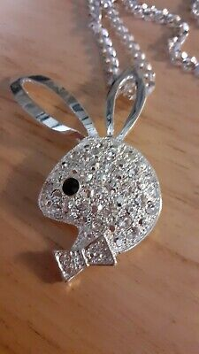 £1.99 • Buy Playboy Style Rabbit Necklace Pendant Silver Colour 20 Inch Chain Bunny 3 Inches