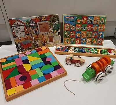 £45 • Buy Large Wooden Toy Bundle Montessori Baby Toddler Preschool Incl Vintage Puzzles
