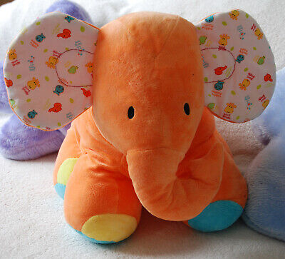£0.99 • Buy MOTHERCARE LARGE ORANGE FLORAL  ELEPHANT CRINKLE EARS 16  40cm SOFT TOY PILLOW