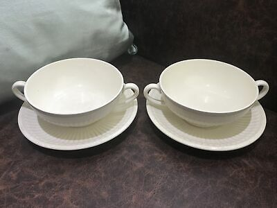 £11.99 • Buy Wedgwood - Queens Ware - EDME - 2 X Handled Soup Bowls 5  With Saucers 6.5