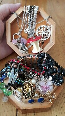 £3.50 • Buy Job Lot Jewellery In Small Wood Box.Box Included