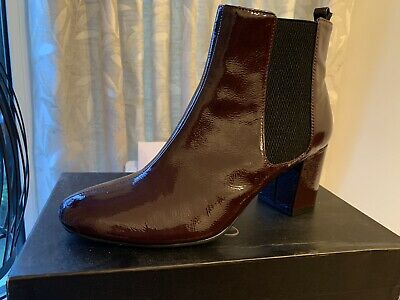 £8 • Buy M&S Burgundy Patent Leather Chelsea / Ankle Boots With Insolia Size 5.5