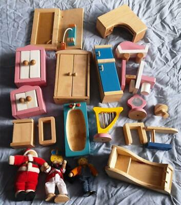 £4.95 • Buy Toy Wooden Dolls House Furniture & People Bundle.