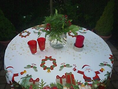£16.31 • Buy Tablecloth Provence 160 CM Round White Red Christmas From France Non-Iron