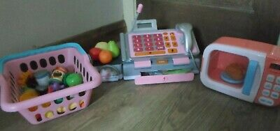 £9.50 • Buy Pink Childs Cash Register Till Has Speech  Play Food Shopping Basket & Microwave