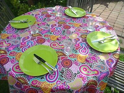 £16.31 • Buy Tablecloth Provence 160 CM Round Pink Paisley France Easy-Care Non-Iron
