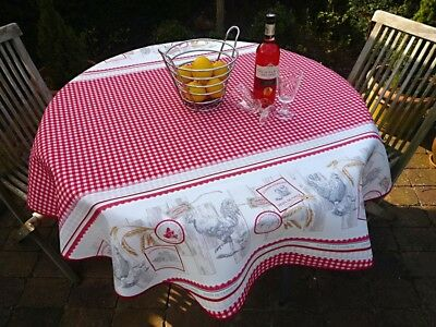 £16.31 • Buy Tablecloth Provence 160 CM Round Red White From France Easy-Care Non-Iron