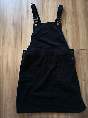 £4 • Buy TU  Black Cord Button Front Pinafore Dress Knee Length Size 10