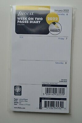 £4.99 • Buy Genuine Filofax  Week On Two Pages Diary 2022 Personal 22.68421
