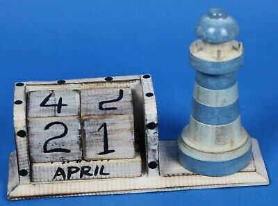 £5 • Buy Hand Made Carved Wooden Lighthouse Perpetual Calendar Rotating Blocks Date Month