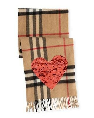 £250 • Buy Burberry Sequin Heart Cashmere Scarf, New, RRP £450, 100% Genuine