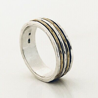 £18.99 • Buy 925 Sterling Silver Spinning Ring 2 Tone Gold & Silver Worry Stress Ring  Size Q