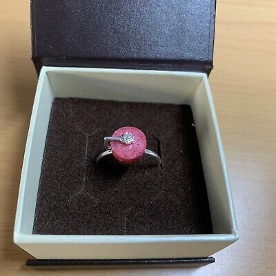 £14.99 • Buy 925 Silver Thulite And Zircon Spinning Disc Ring Size O/ Fab Condition