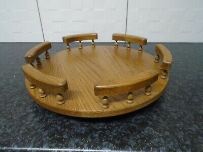 £11.99 • Buy VINTAGE HEAVY WOODEN LAZY SUSAN TRAY With GALLERY SIDES COLLETABLE FURNITURE