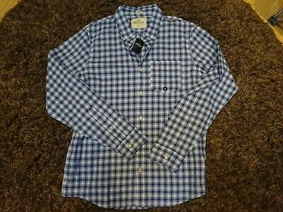 £5 • Buy Hollister Long Sleeved Checked Blue Shirt Xl