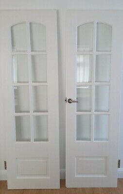 £1.50 • Buy White Glazed Internal French Doors As A Pair - 590 X 1940mm Complete With Hinges
