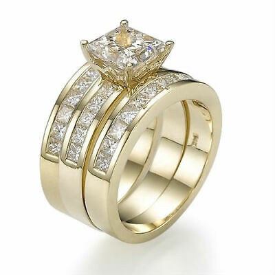 £5826.28 • Buy 2 Bands Set Diamond Ring 3.7 Ct 18k Yellow Gold Side Stones Size 5.5 6.5 7.5