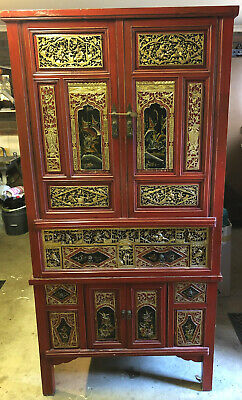 AU800 • Buy Red Chinese Cabinet Cupboard Chest Hand Painted Designer Furniture Antique
