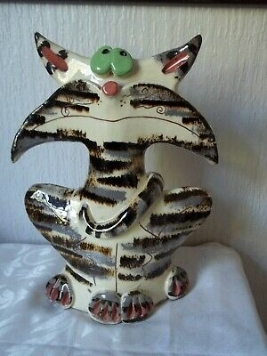 £35 • Buy Unusual Hand Made Glazed Pottery Stripped Cat