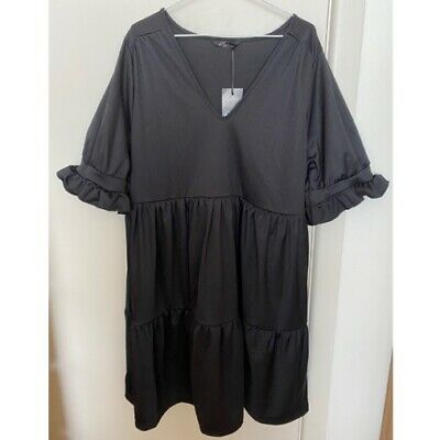 AU40 • Buy NEW ASOS YOURS Black Tiered Smock Dress Tier Babydoll Plus/Curve 18-20
