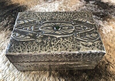 £10 • Buy Arts And Crafts Inlaid Pewter Box / Cabochon Inlaid Hammered Pewter Box C1900