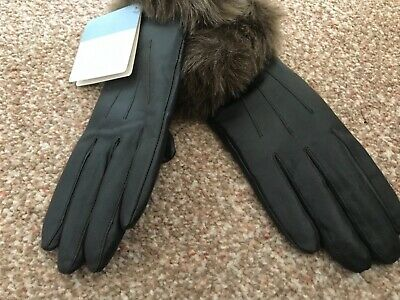 AU36.78 • Buy REAL LEATHER GLOVES-faux Fur Cuffs-BRAND NEW With Tags-Unwanted Gift