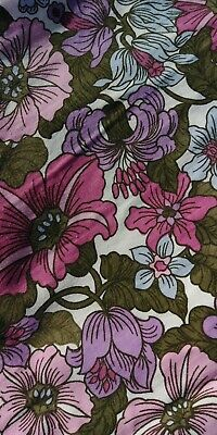 £24.95 • Buy Pair Vintage Floral Handmade Curtains Pink Lilac Blue 60s 70s Cotton 45.5  X 46
