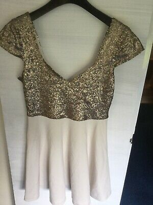 AU2.21 • Buy ASOS Ladies Champagne With Gold Sequinned Top Part Dress, Size 14
