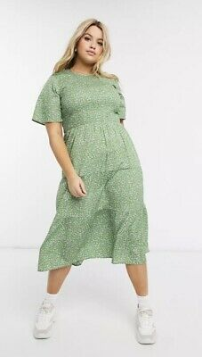 AU36.78 • Buy Wednesdays Girl @ Asos Curve Green Ditsy Floral Shirred Top Midi Dress Size 22
