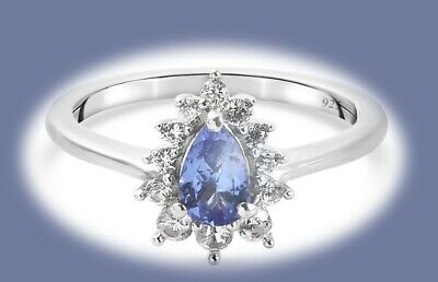£12 • Buy Tanzanite And Natural Cambodian Zircon Platinum Overlay Silver Ring Size M
