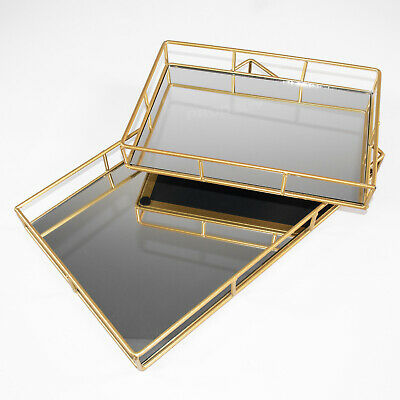 £13.99 • Buy Gold Rectangular Mirrored Glass Decorative Trays Plates Candle Perfume Holder