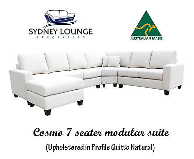 AU1980 • Buy AUSTRALIAN MADE Cosmo 7 Seater Fabric Chaise Modular Sofa Lounge Couch