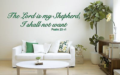Psalm 23 Vinyl Wall Art Sticker, Christian Bible Quote NIV, Mural, Decal, Church • 12.49£