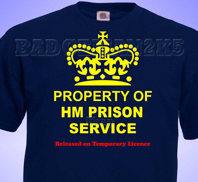 Property Of HM PRISON SERVICE JOKE  MENS Cotton T-Shirt • 10.99£