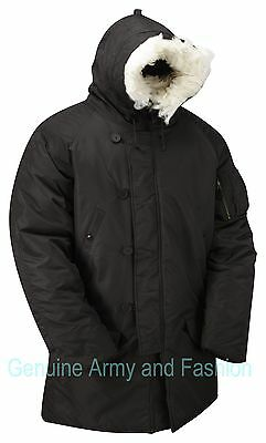 $ CDN110.30 • Buy Army Military Style N3B Parka Insulated Padded Snorkel Hooded Jacket Coat Black