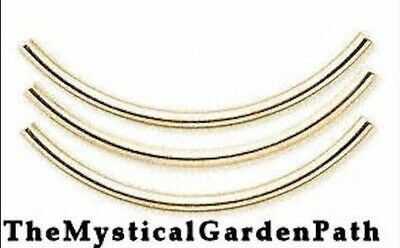 $21.99 • Buy 100 Gold Plated Brass Curved Tube Noodle Beads / 2.0x38mm
