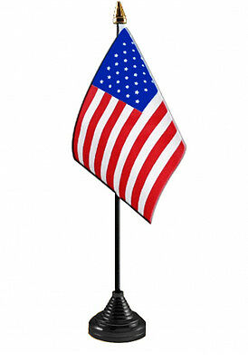 USA TABLE FLAG Desktop With BLACK BASE Flags UNITED STATES OF AMERICA U.S.A. • 4.99£