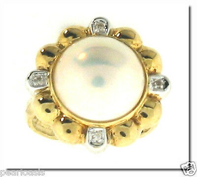 $399.50 • Buy 12.5MM Mabe Pearl Diamond Ring, 14K Yellow Gold, Size 7, NEW