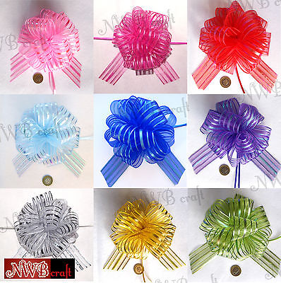 50mm Large Organza Ribbon Pull Bows Various Colours Wedding/party/giftwrap  • 1.99£
